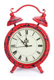 Reloj rojo de la Navidad Foto de archivo libre de regalías