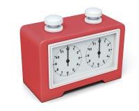Reloj rojo del ajedrez en el fondo blanco 3d rinden los cilindros de image stock de ilustración