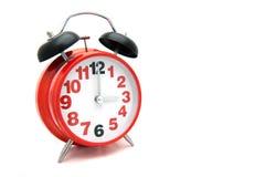 Reloj rojo grande del metal Imagen de archivo