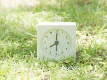 Reloj simple blanco en yarda del césped, reloj del ` del 8:00 ocho o Foto de archivo libre de regalías