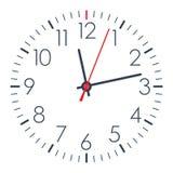 Reloj simple de la oficina del vector en el fondo blanco Foto de archivo