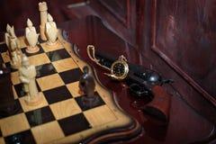 Reloj tallado del ajedrez Imágenes de archivo libres de regalías