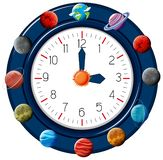 Reloj temático del planeta de la diversión stock de ilustración