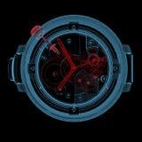 Reloj (transparentes rojos y azules de la radiografía 3D) Fotos de archivo libres de regalías