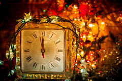 Reloj viejo del Año Nuevo Imagenes de archivo