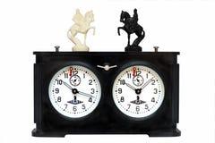 Reloj viejo del ajedrez Foto de archivo