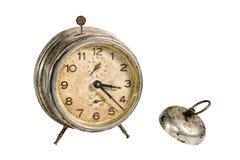 Reloj viejo del vintage aislado en blanco Trayectoria incluida fotografía de archivo libre de regalías