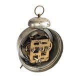 Reloj viejo del vintage aislado en blanco Trayectoria incluida foto de archivo