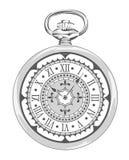 Reloj viejo del vintage con la cara decorativa Ilustración del vector Foto de archivo libre de regalías