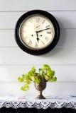 Reloj viejo del vintage en la pared de madera blanca con el árbol de la menta en florero encendido Fotografía de archivo libre de regalías
