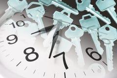 Reloj y claves Fotografía de archivo libre de regalías