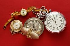Reloj y cronómetro del vintage del bolsillo Imagenes de archivo