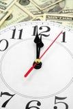 Reloj y dólares de pared fotos de archivo