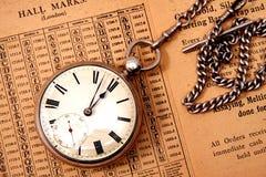 Reloj y encadenamiento de bolsillo Fotos de archivo