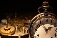Reloj y engranajes de bolsillo Foto de archivo libre de regalías