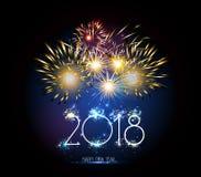 Reloj y fuego artificial de la Feliz Año Nuevo 2018 Foto de archivo libre de regalías