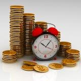 Reloj y monedas stock de ilustración