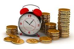 Reloj y monedas ilustración del vector