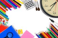Reloj y otras herramientas de la escuela Imagen de archivo