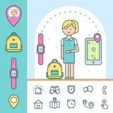 Reloj y perseguidor elegantes para los niños Elementos de Infographics stock de ilustración