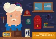 Relojero en el lugar de trabajo stock de ilustración