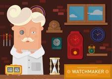 Relojero en el lugar de trabajo con un reloj en la pared ilustración del vector