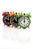 Relojes de alarma verticales Imágenes de archivo libres de regalías