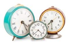 Relojes de alarma viejos Imágenes de archivo libres de regalías