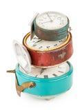 Relojes de alarma viejos Fotografía de archivo libre de regalías