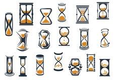 Relojes de arena y contadores de tiempo del huevo fijados Fotos de archivo
