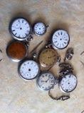 Relojes de bolsillo del vintage Fotografía de archivo