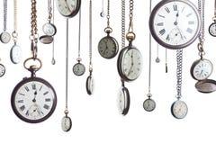 Relojes de bolsillo en el encadenamiento aislado Foto de archivo libre de regalías