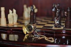 Relojes de bolsillo hechos a mano del ajedrez Fotografía de archivo libre de regalías