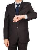 Relojes de la mano del traje del hombre Fotografía de archivo libre de regalías