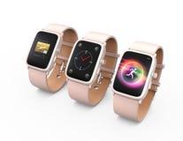 Relojes de Smart con pulsera de cuero rosada aislados en el fondo blanco Fotos de archivo