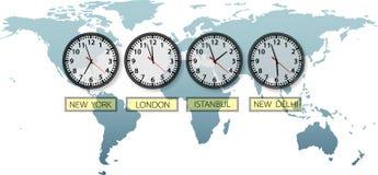 Relojes de tiempo de la ciudad de la tierra del recorrido en correspondencia de mundo Fotos de archivo