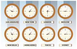 Relojes de tiempo de la pared Fotografía de archivo libre de regalías