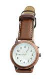 Relojes del cuarzo con una correa de cuero Imagen de archivo libre de regalías