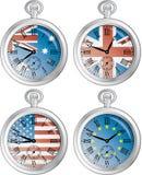 Relojes con las banderas Fotos de archivo