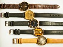 Relojes del vintage en el fondo blanco Foto de archivo