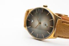 Relojes del vintage en el fondo blanco Imágenes de archivo libres de regalías