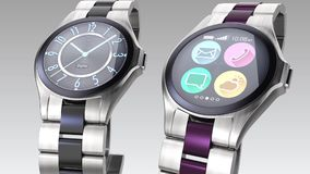 Relojes elegantes de lujo en fondo brillante ilustración del vector