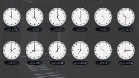 Relojes exactos con zonas de momento diferente por todo el mundo stock de ilustración