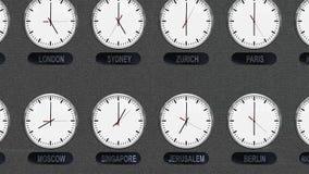 Relojes exactos de las zonas de momento diferente stock de ilustración