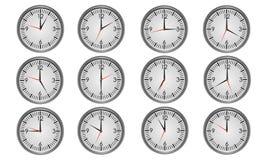 Relojes metálicos redondos de la oficina Imágenes de archivo libres de regalías