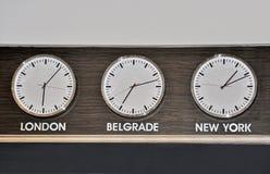 Relojes mundiales Imágenes de archivo libres de regalías