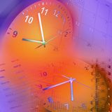 Relojes y calendario Imagen de archivo libre de regalías