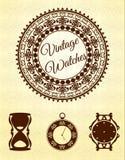 Relojes y marcos del vintage fijados Imagen de archivo libre de regalías