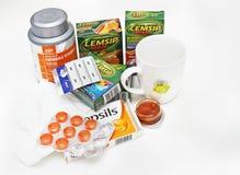 Remèdes de saison de la grippe photographie stock