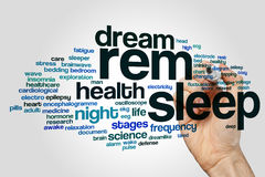REM sleep word cloud. Concept on grey background royalty free stock photo